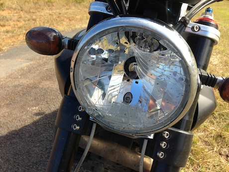 Smashed headlight