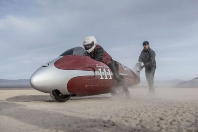 Spirit of Munro Indian Motorcycles streamliner at Sturgis