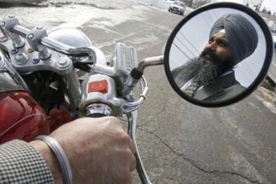 Sikh Baljinder Badesha rides without a helmet