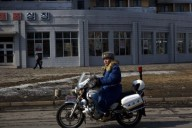 Motorcycle rider in North Korea