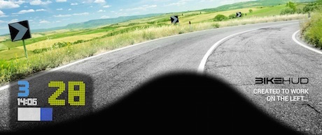 BikeHUD head-up display for motrocycle helmets