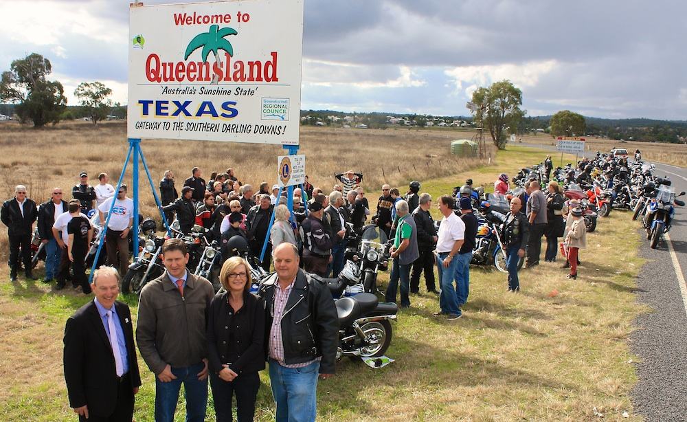 Springborg (second left) at the Texas Motorcycle Friendly Town launch tourism