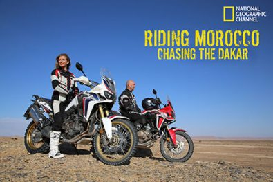 """Laura Csortan and Christophe Barriere-Varju in """"Riding Morocco: Chasing the Dakar"""" on TV"""