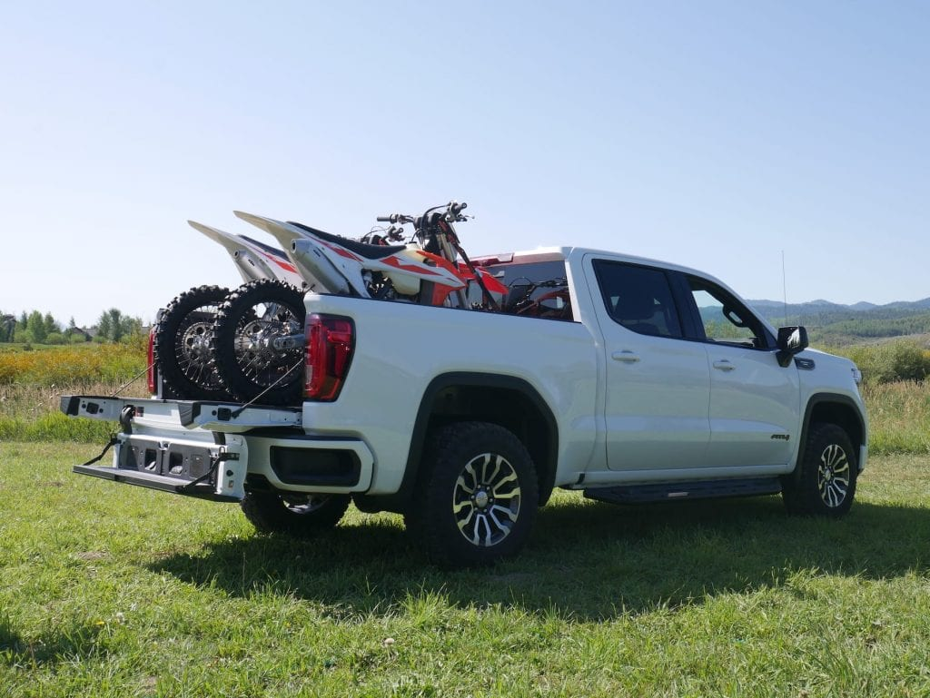 GMC Sierra with dirtbikes