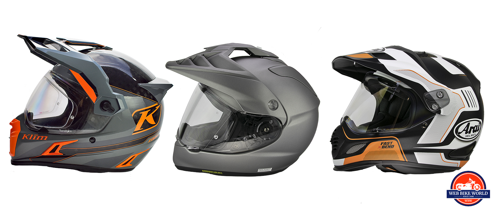 The Klim Krios Pro, Arai XD-4, and Shoei Hornet helmet