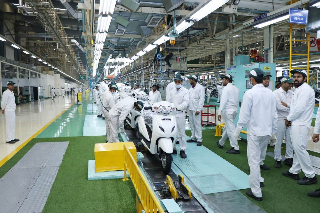 a view of the plant floor of the Honda Motorcycle and Scooter India plant in Gujarat
