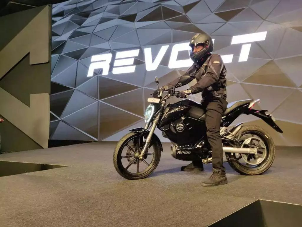 a side view of a motorcycle from Revolt Motors