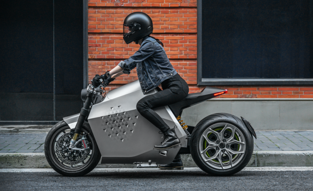 a side view of Davinci Tech's new electric Motorbike, the DC100