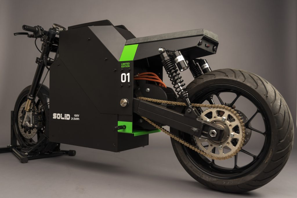 a side view of the SOLID CRS-01 Electric, environmentally friendly motorcycle