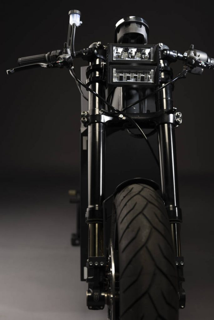 a view from the front of the SOLID CRS-01 Electric, environmentally friendly motorcycle