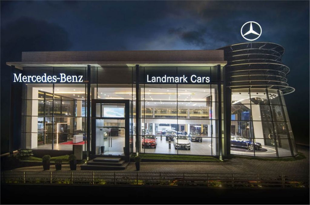 a view of the front of a Mercedes-Benz dealership