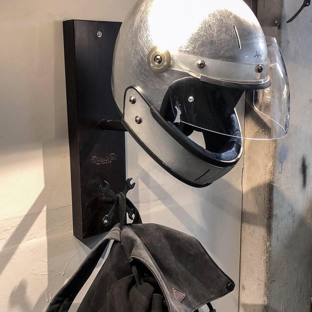 a VELDT motorcycle helmet in silver foil
