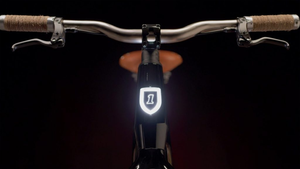 a close-up of a Harley-davidson electric bicycle from the front