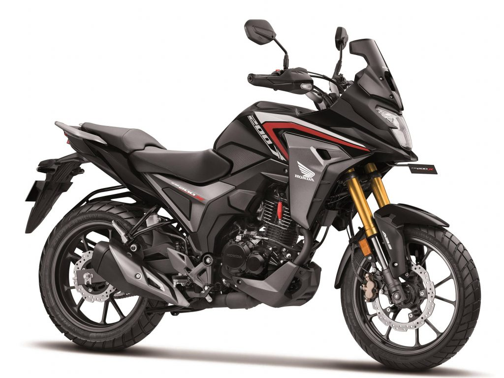 A side view of the all-new 2021 Honda CB200X (previously thought the NX200) released to India this morning