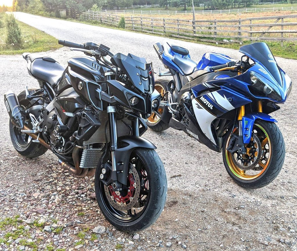 A view of the Yamaha MT10 and the R1