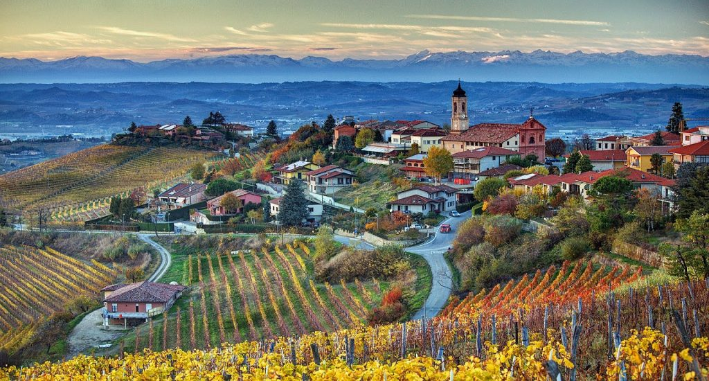 A view of The Langhe, Piedmont, Italy.