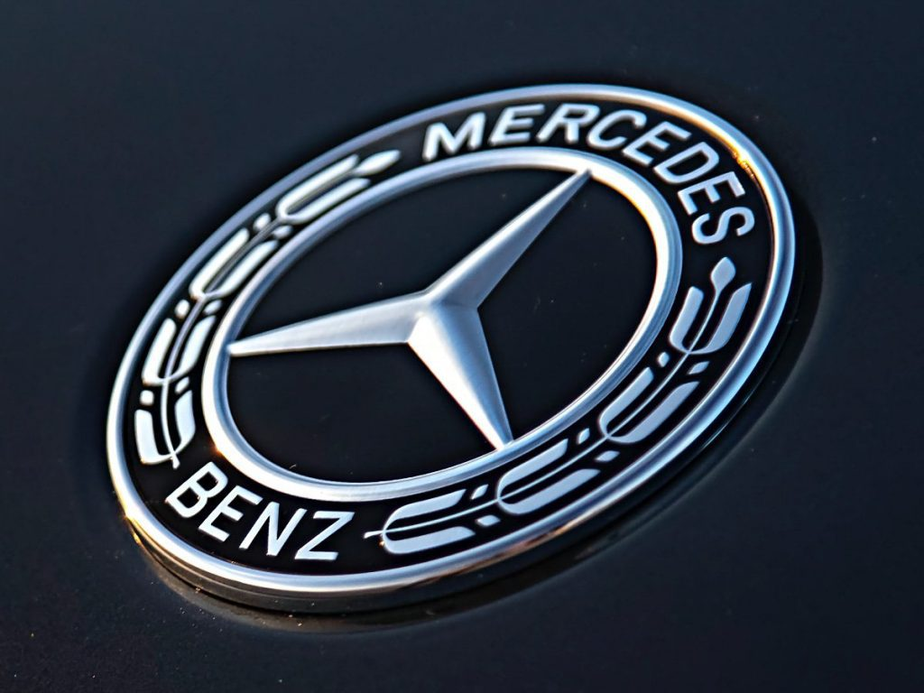 A view of the Mercedes-Benz insignia logo