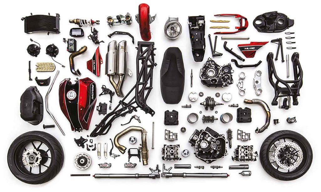 a view of the accessories that go into creating a Moto Morini X-Cape adventure motorbike