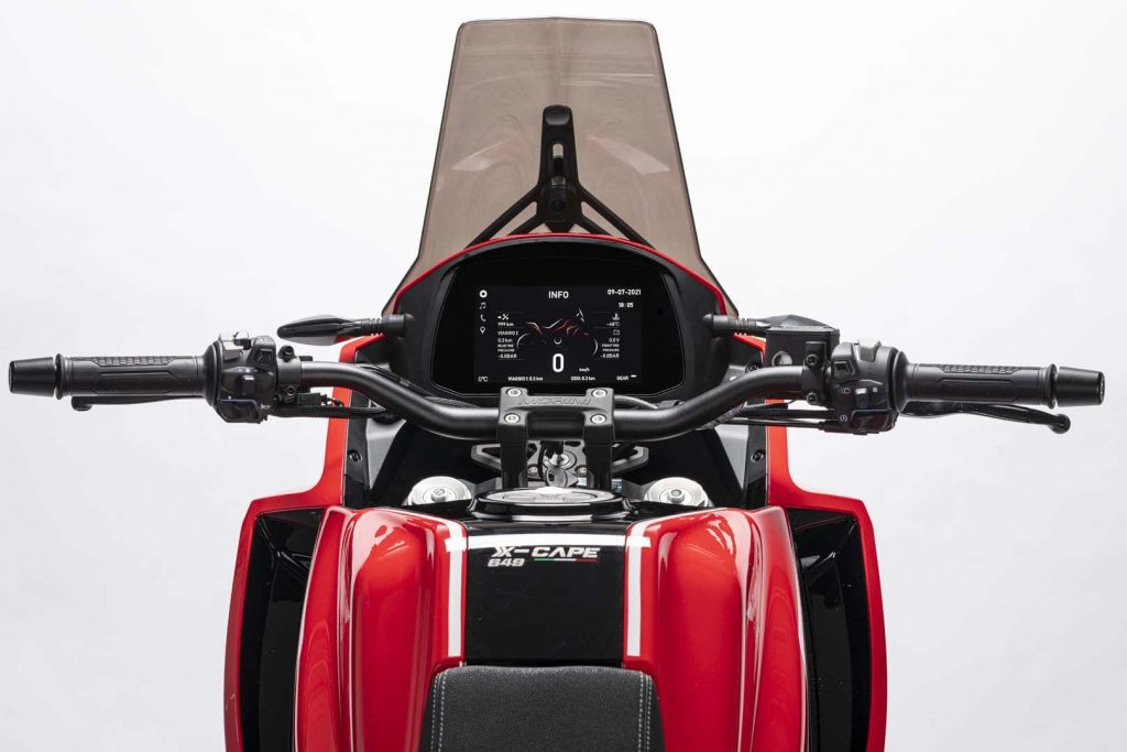 A view of the full-color TFT display on the 2021 Moto Morini X-Cape Adventure Motorbike