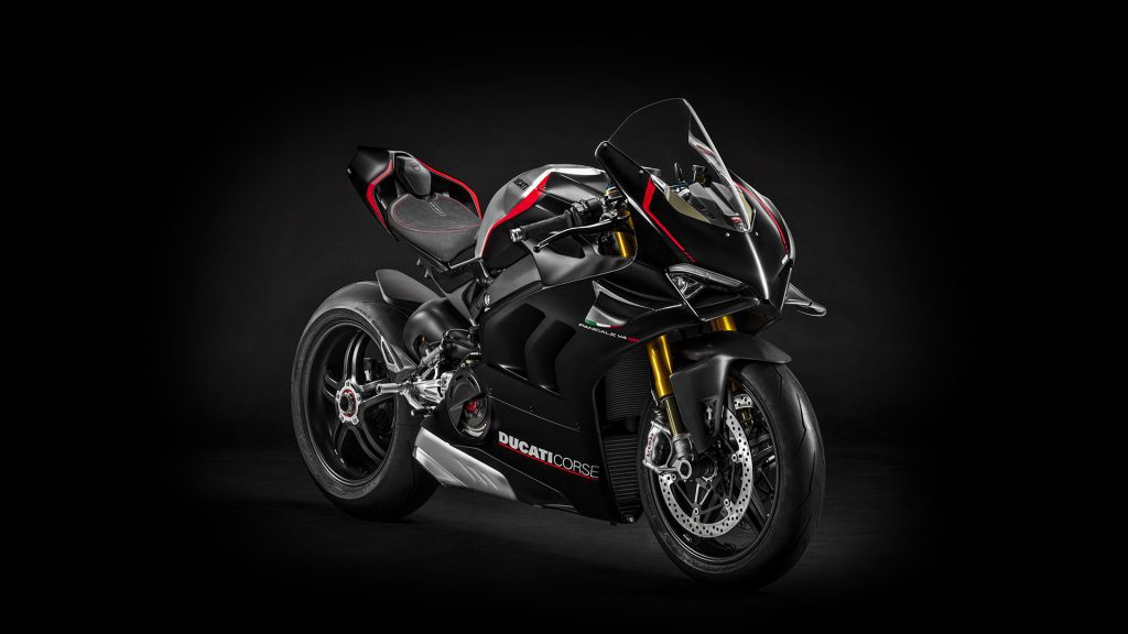 a front-side view of the Ducati Panigale V4 SP