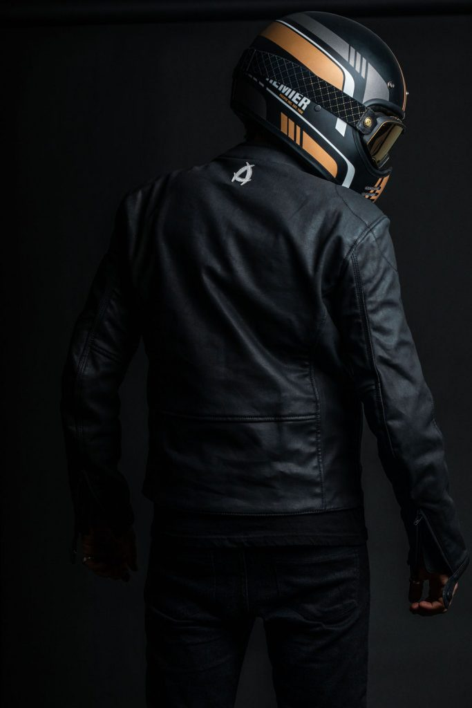 A back view of the new Neowise vegan leather motorcycle jacket from Andromeda Moto