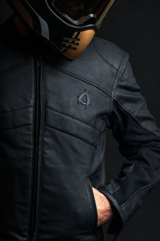A frontal view of the new Neowise vegan leather motorcycle jacket from Andromeda Moto