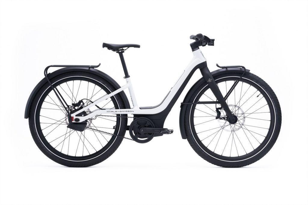 a side view of Serial 1 RUSH/CTY STEP-THROUGH electric bicycle