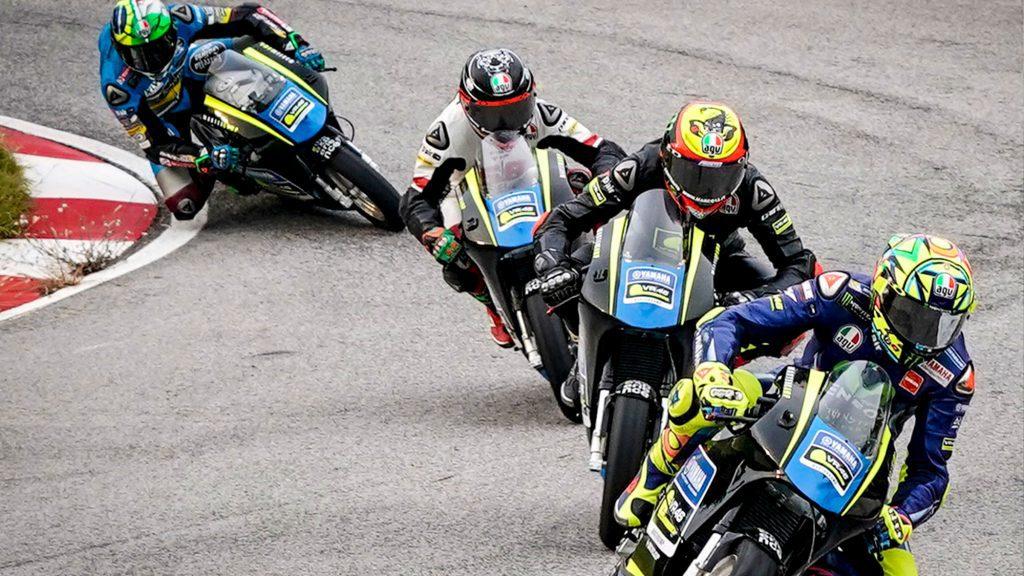 Rossi, Bezzecchi, Nico, Antonelli and Morbidelli turning into the twists
