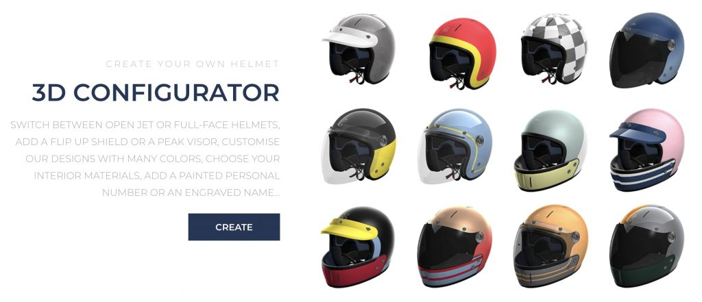 A screenshot of the helmet configurator on VELDT's website.