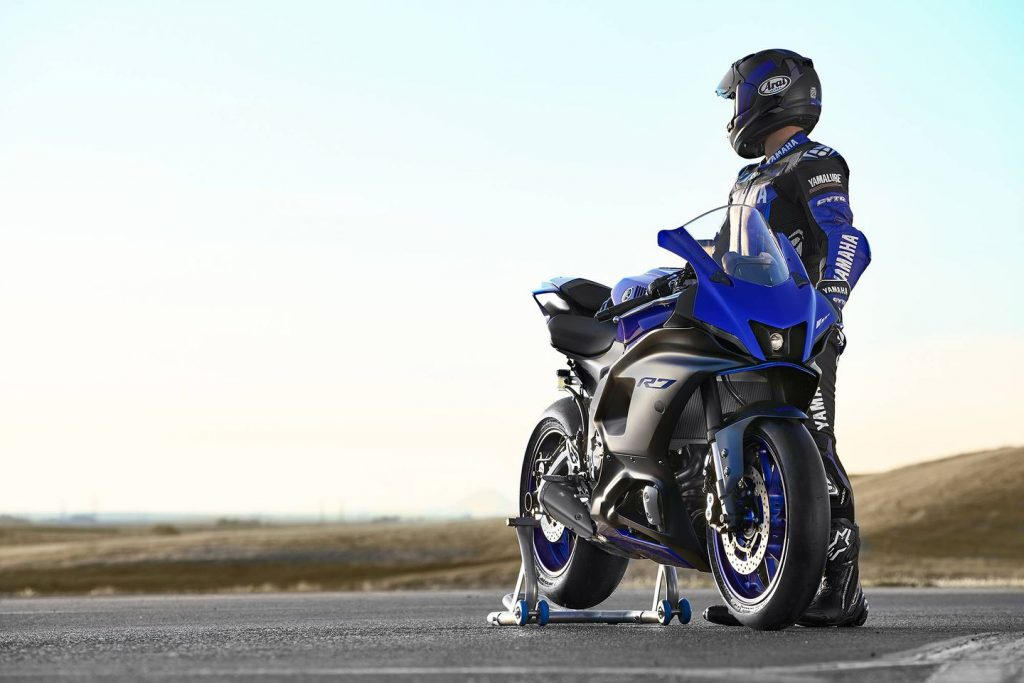 a rider with an R7 looks into the distance
