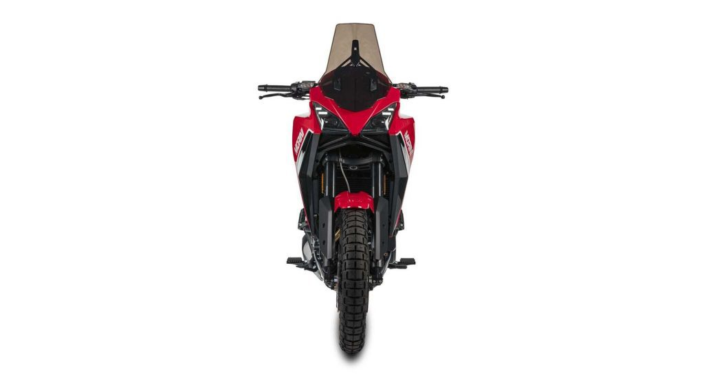 A front view of the Moto Morini X-Cape, soon to be released to Europe