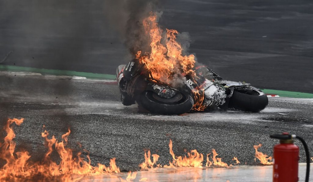 a view of the red flag incident at Round 10 of the MotoGP at the Styrian GP 2021