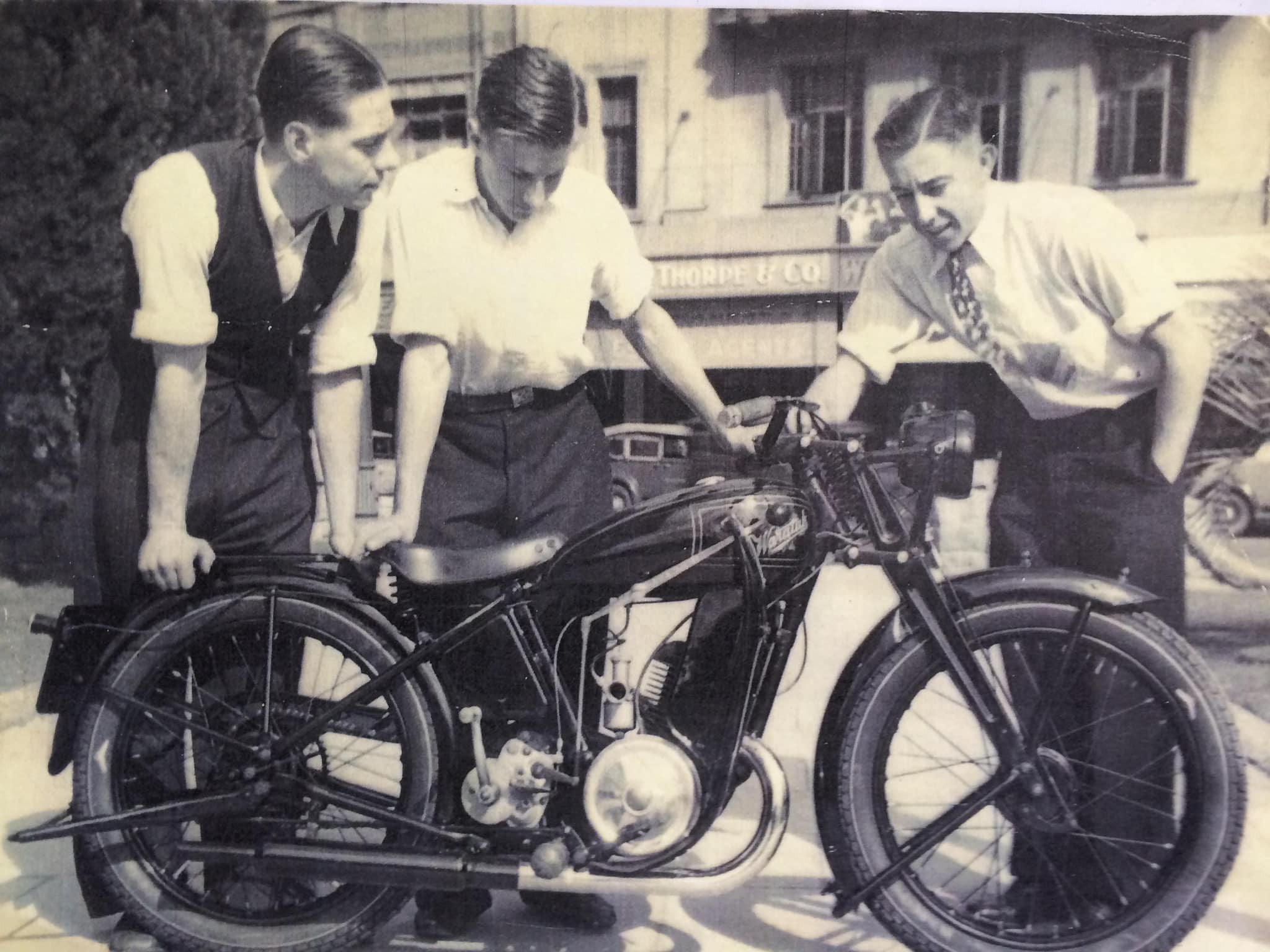 Waratah Motorcycles employees and a new bike in Sydney, circa 1945. Photograph: Waratah Motorcycles