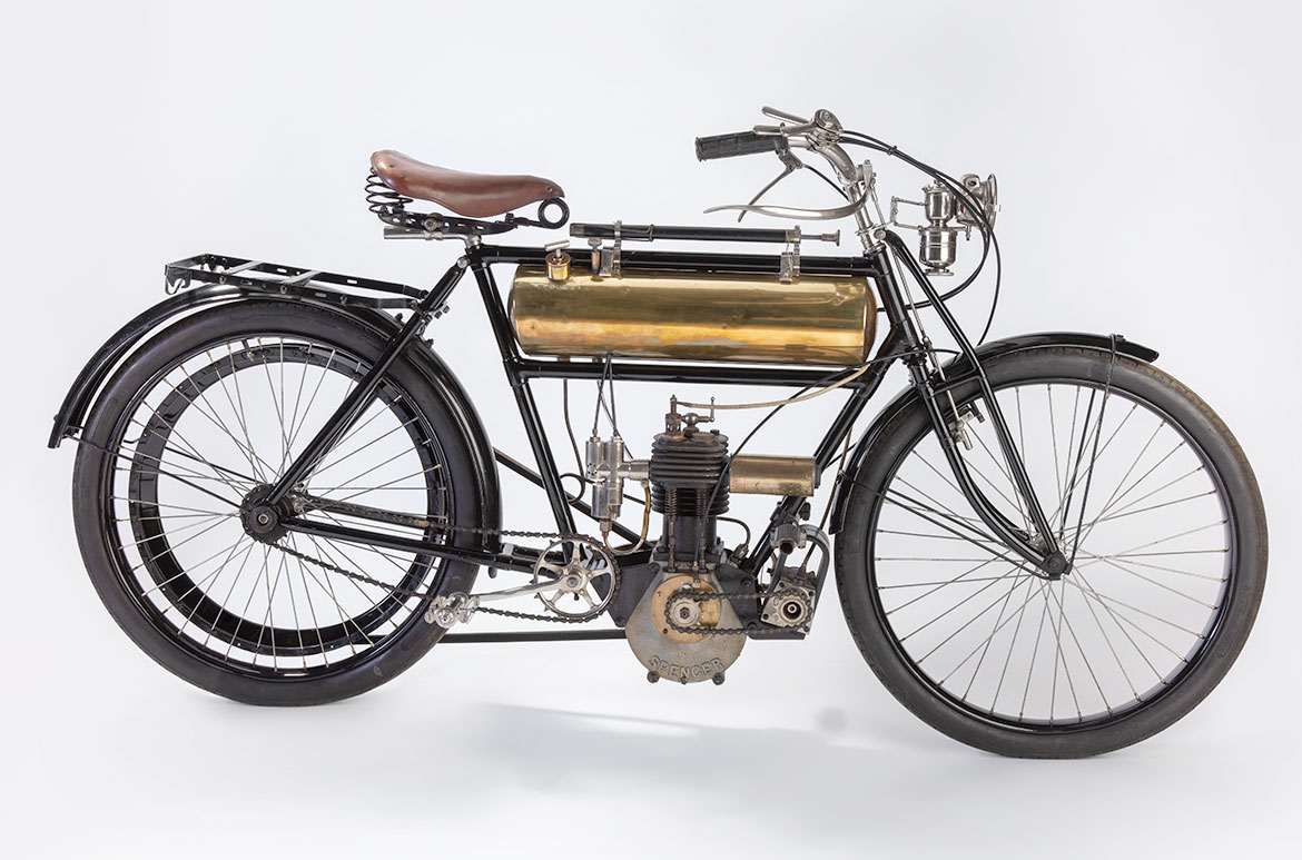 A 1906 Spencer motorcycle as it appears today