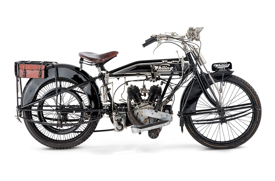 A 1914 Whiting motorcycle powered by a 494 cc JAP side-valve V-twin