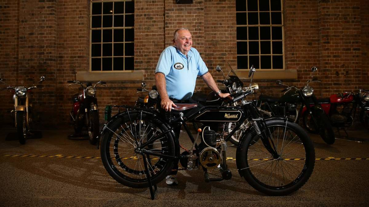 A proud Waratah Motorcycle owner and his bike