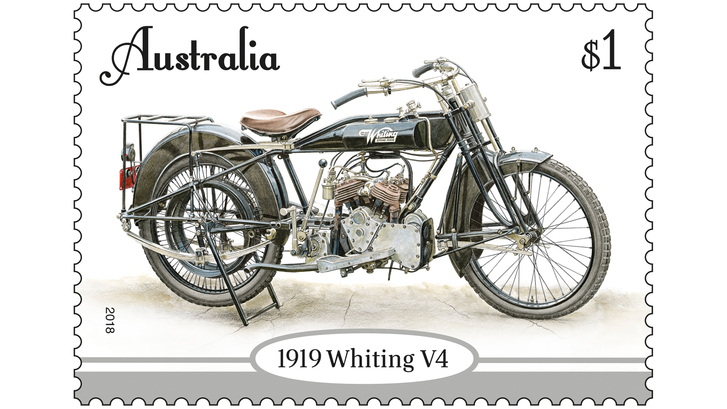 An Australia Post commemorative stamp showing the 1919 Whiting 685cc V4 motorcycle