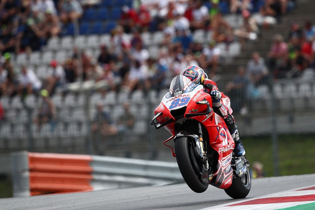 A view of Jorge Martin Riding around to secure a victory at Round 10 of 2021's MotoGP