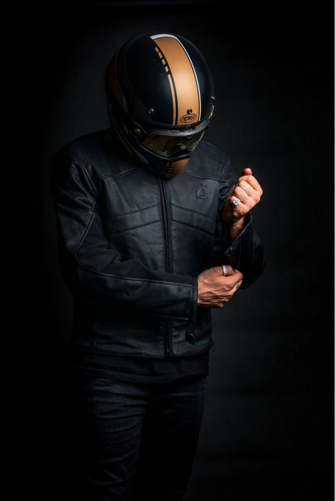 a front view of the new Neowise vegan leather motorcycle jacket from Andromeda Moto