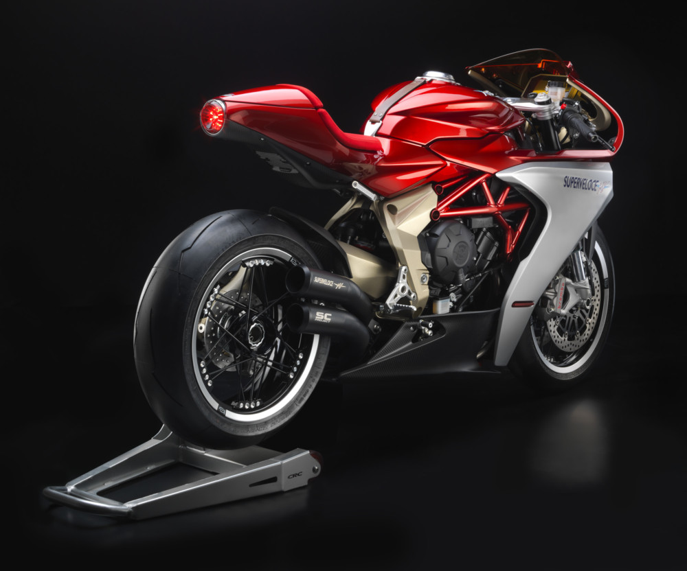 A back view of the MV Agusta Superveloce F3 800