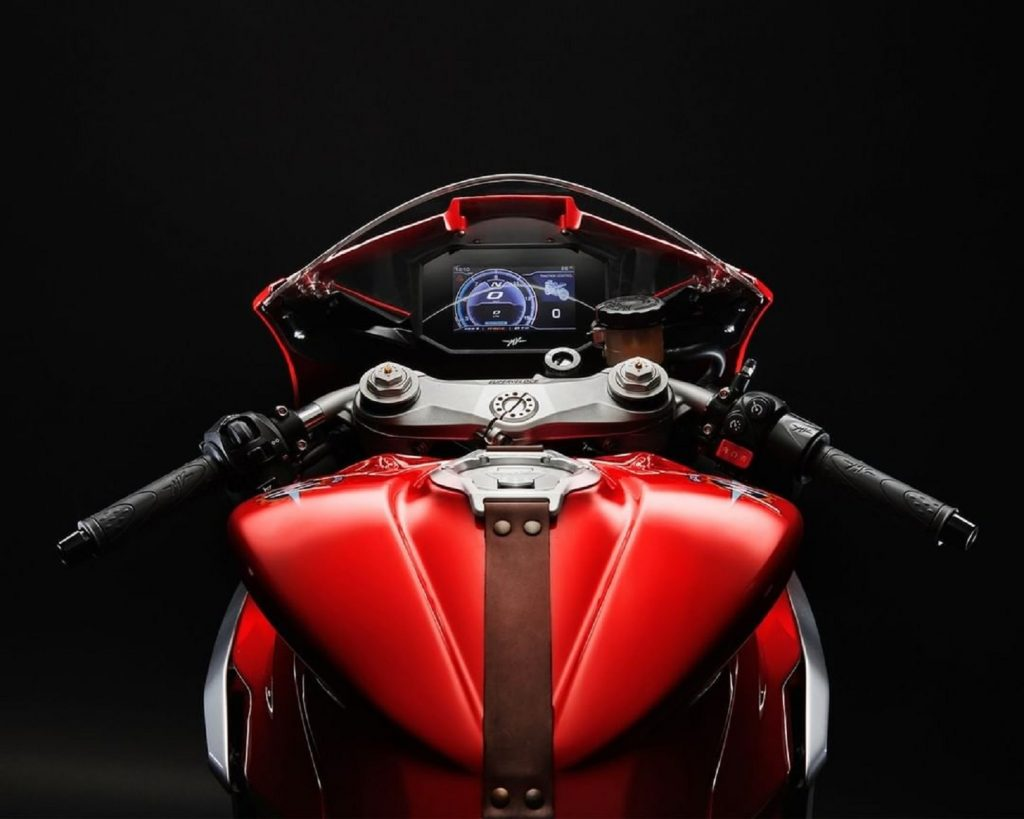 A view from above of the cockpit of the MV Agusta F3 800