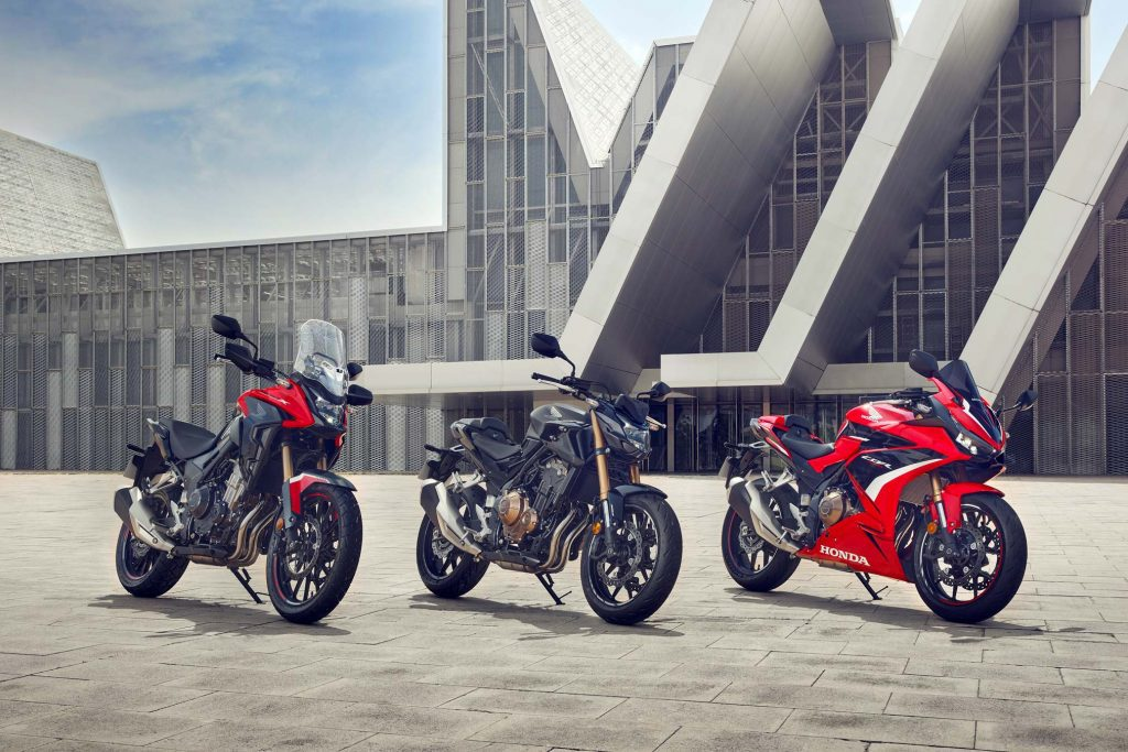 A view of the new Honda 2022 CB and CBR Lineup: The 2022 CB500F, the CB500X, and the CBR500R.