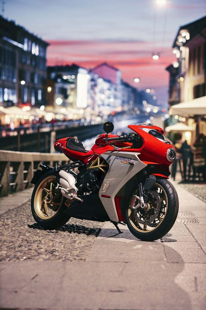 A side view of the MV Agusta Superveloce F3 800