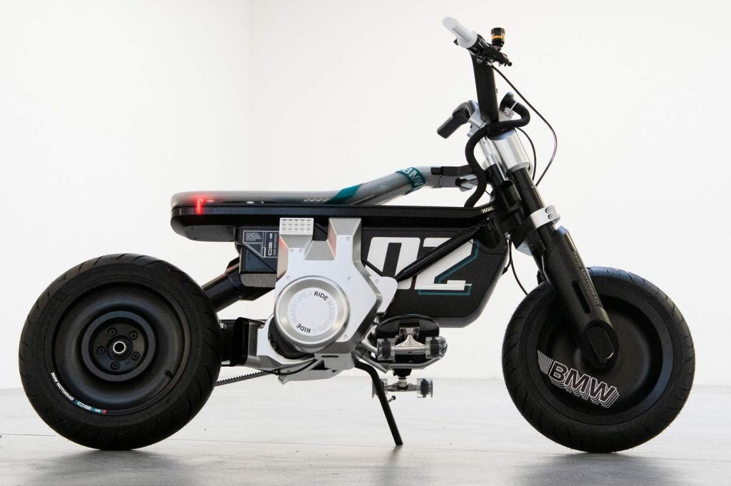 A side view of the A side view of the BMW CE 02 concept scooter