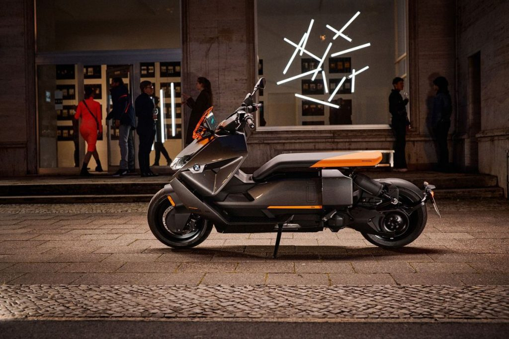 A side view of the BMW CE 04 scooter