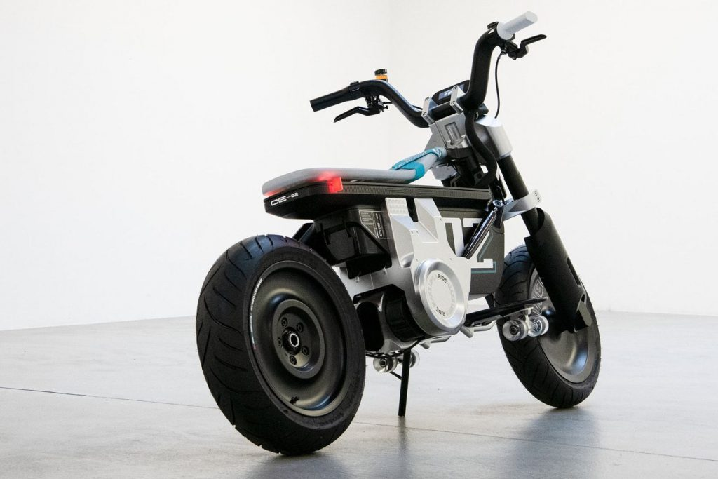 A view from the back of the A side view of the BMW CE 02 concept scooter