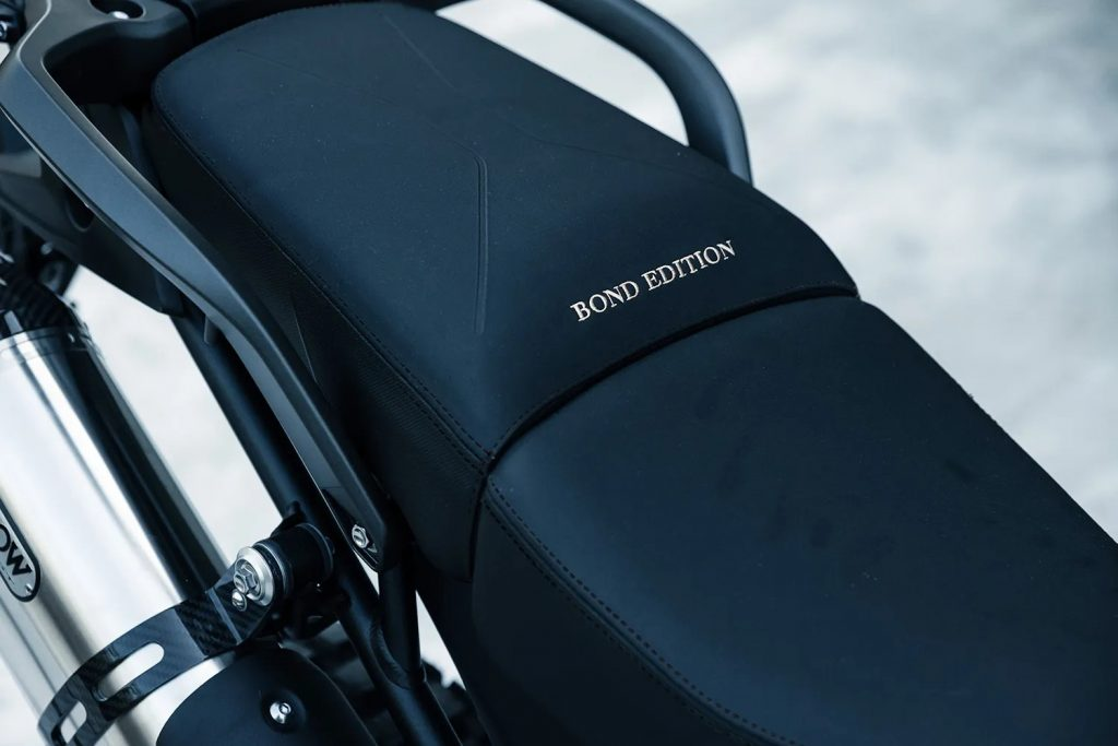 A view of the seat on the 2022 Tiger 900 Rally Pro Bond Special Edition