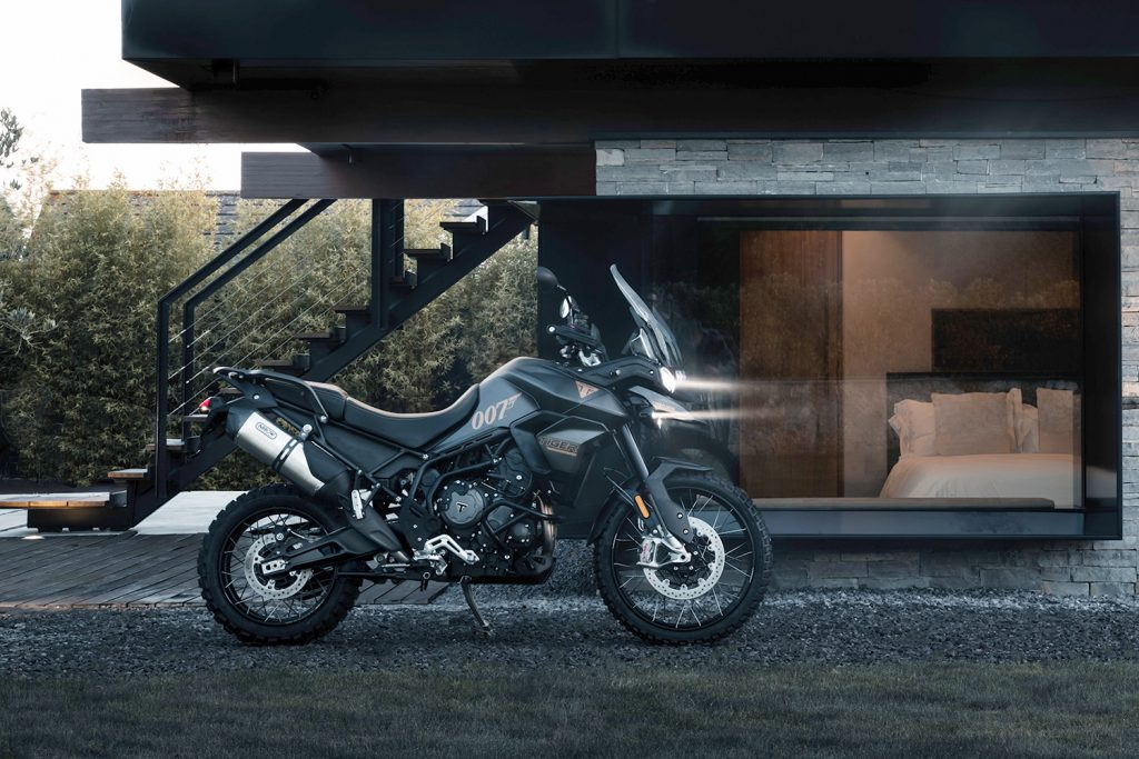 A side view of the 2022 Tiger 900 Rally Pro Bond Special Edition