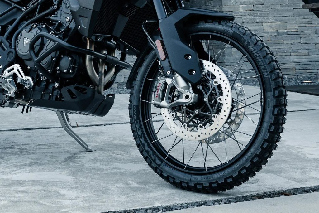 A view of the potential upgrade tyres available on A side view of the 2022 Tiger 900 Rally Pro Bond Special Edition