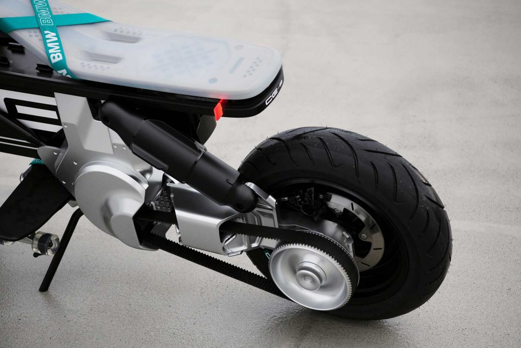 A view of the belt and rear tire on the A side view of the BMW CE 02 concept scooter